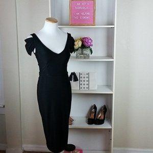 Leona Edmiston Black Dress Ruched 0/2/XS Edminston